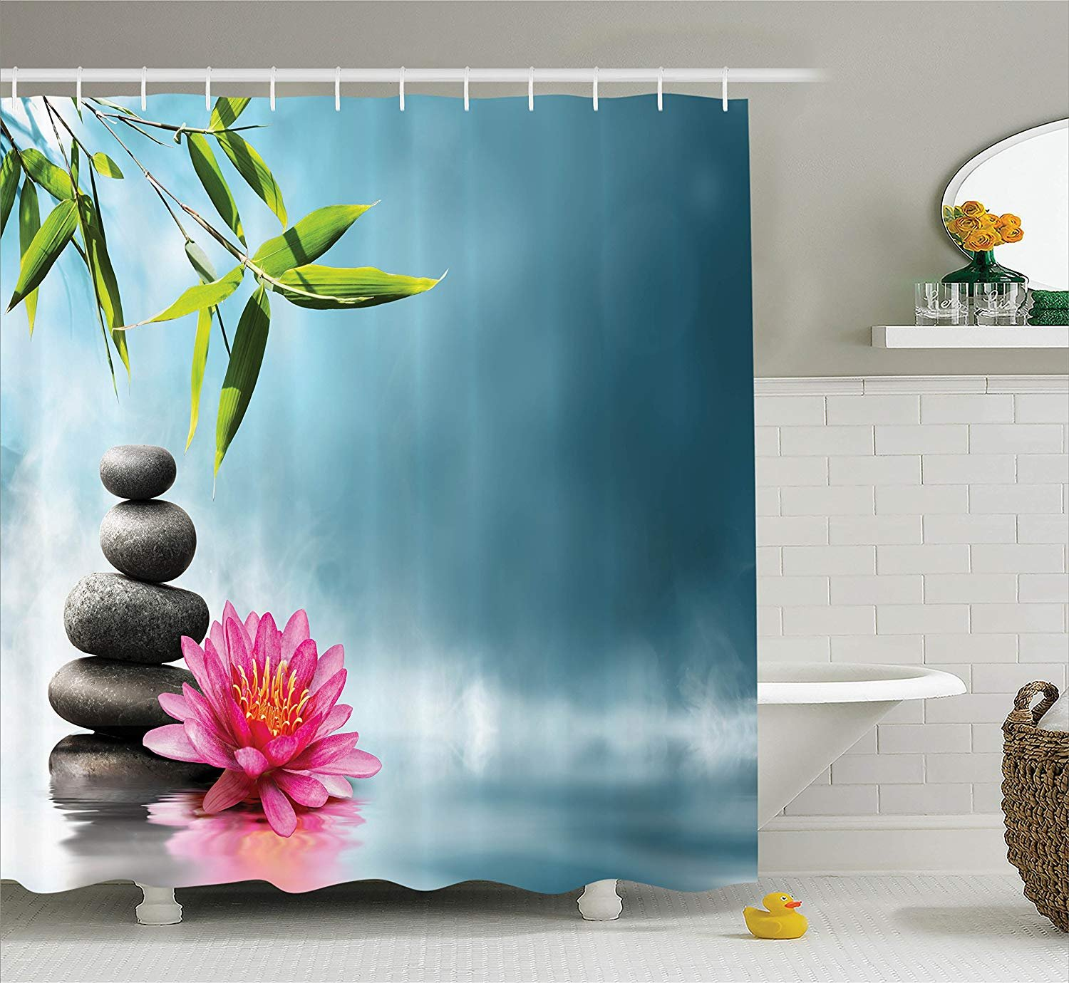 BUZRL SPA Decor Shower Curtain Set, SPA Theme Picture with ...
