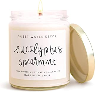 product image for Sweet Water Decor Eucalyptus Spearmint Candle | Lemon, Lavender, Relaxing Scented Soy Wax Candle for Home | 9oz Clear Glass Jar, 40 Hour Burn Time, Made in the USA