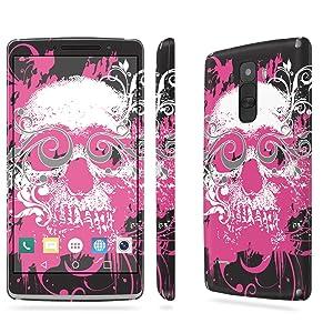 LG [G Stylo] Skin [NakedShield] Scratch Guard Vinyl Skin Decal [Full Body Edge] [Matching WallPaper] - [Pink Skull] for LG [G Stylo] [LS770 H631]