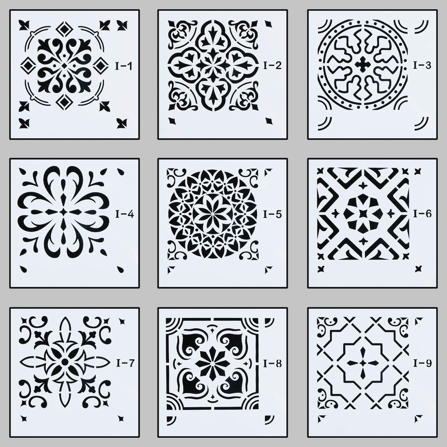 Unime Mandala Stencils Template,Mandala Wall Stencil for Painting (6X6 inch) - Reusable Laser Cut Stencils Art for Fabric Floor Furniture Wood Ceramic Tile and Home Décor,9 Pack
