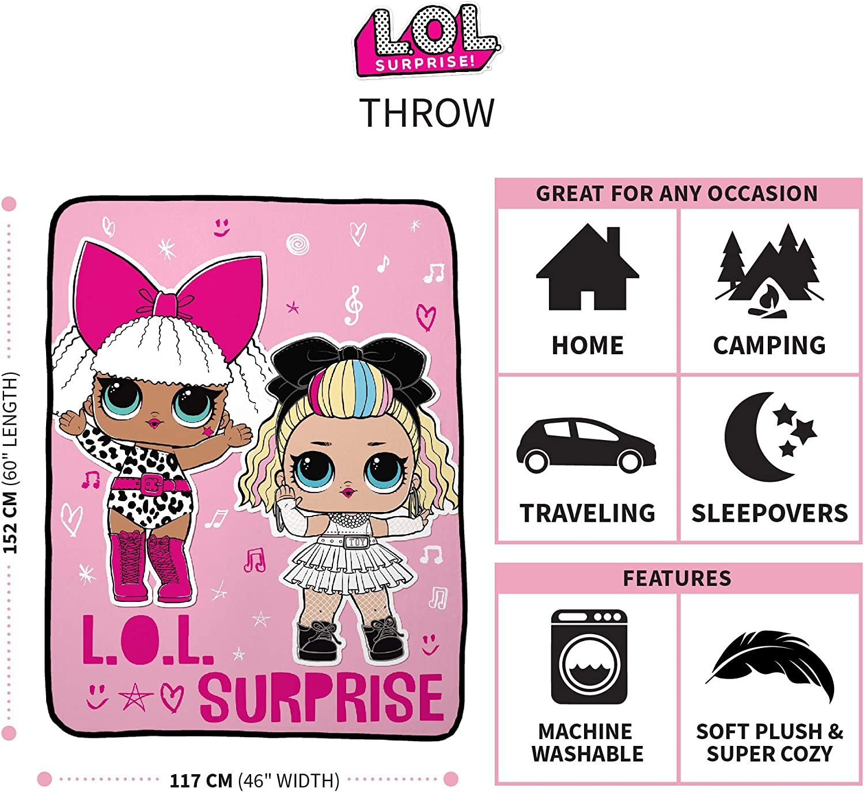 Franco Kids Bedding Super Soft Plush Micro Raschel Throw 46 x 60 LOL Surprise