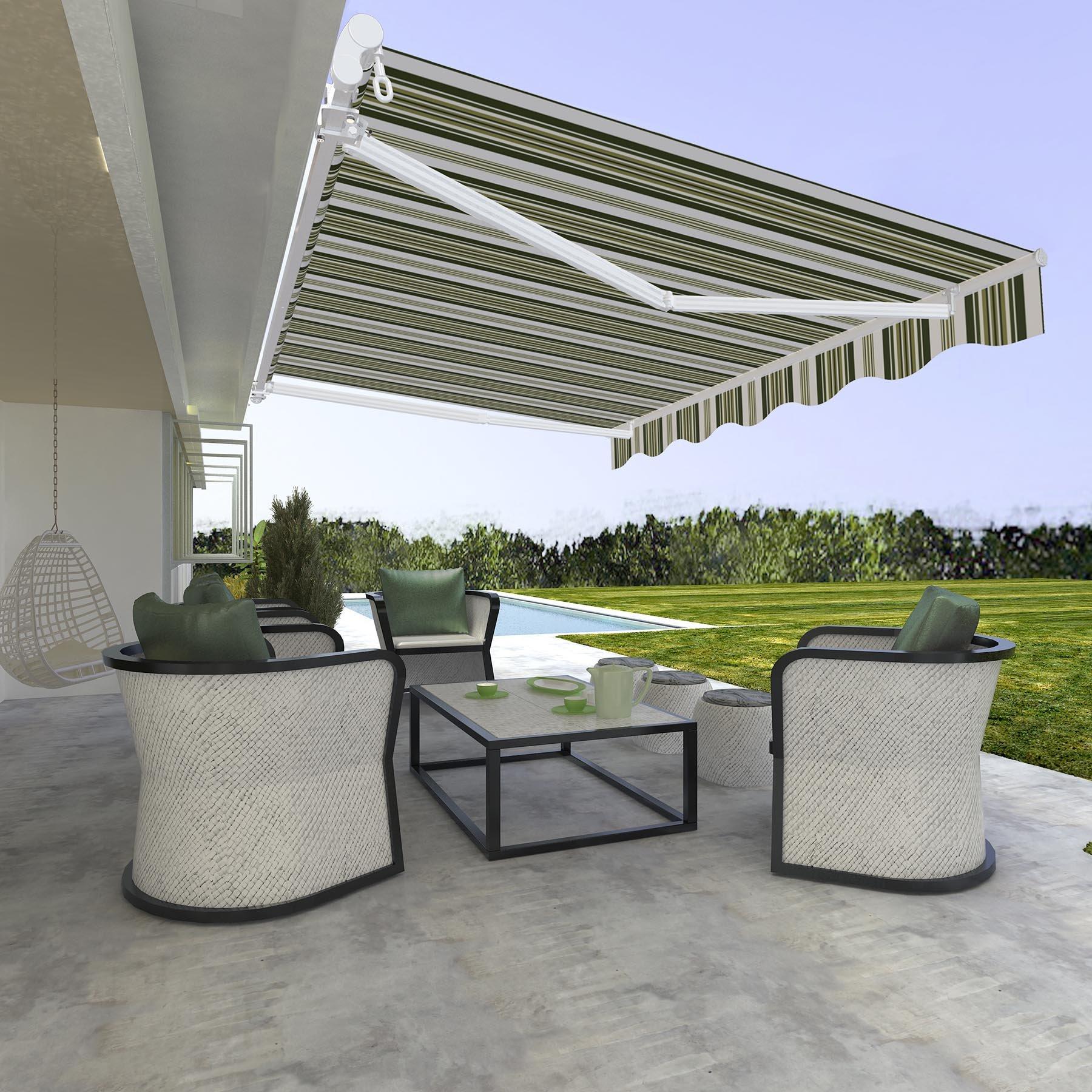 CO-Z Manual Patio Shade Retractable Deck Awning Sun Shade ...