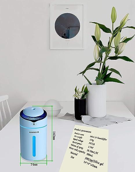 Verde ENDIN Mini Humidificador Apagado autom/ático y funci/ón de luz Nocturna para el el hogar humidificadores ultras/ónicos de Aire con alimentaci/ón USB Dormitorio la Oficina
