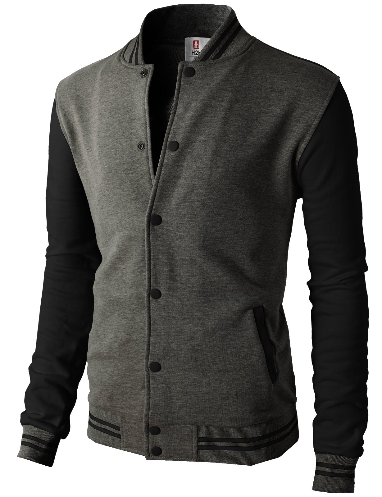 H2H Mens Slim Fit Varsity Baseball Bomber Cotton Lightweight Premium Jacket  Cmoja083-charcoalblack Large by H2H