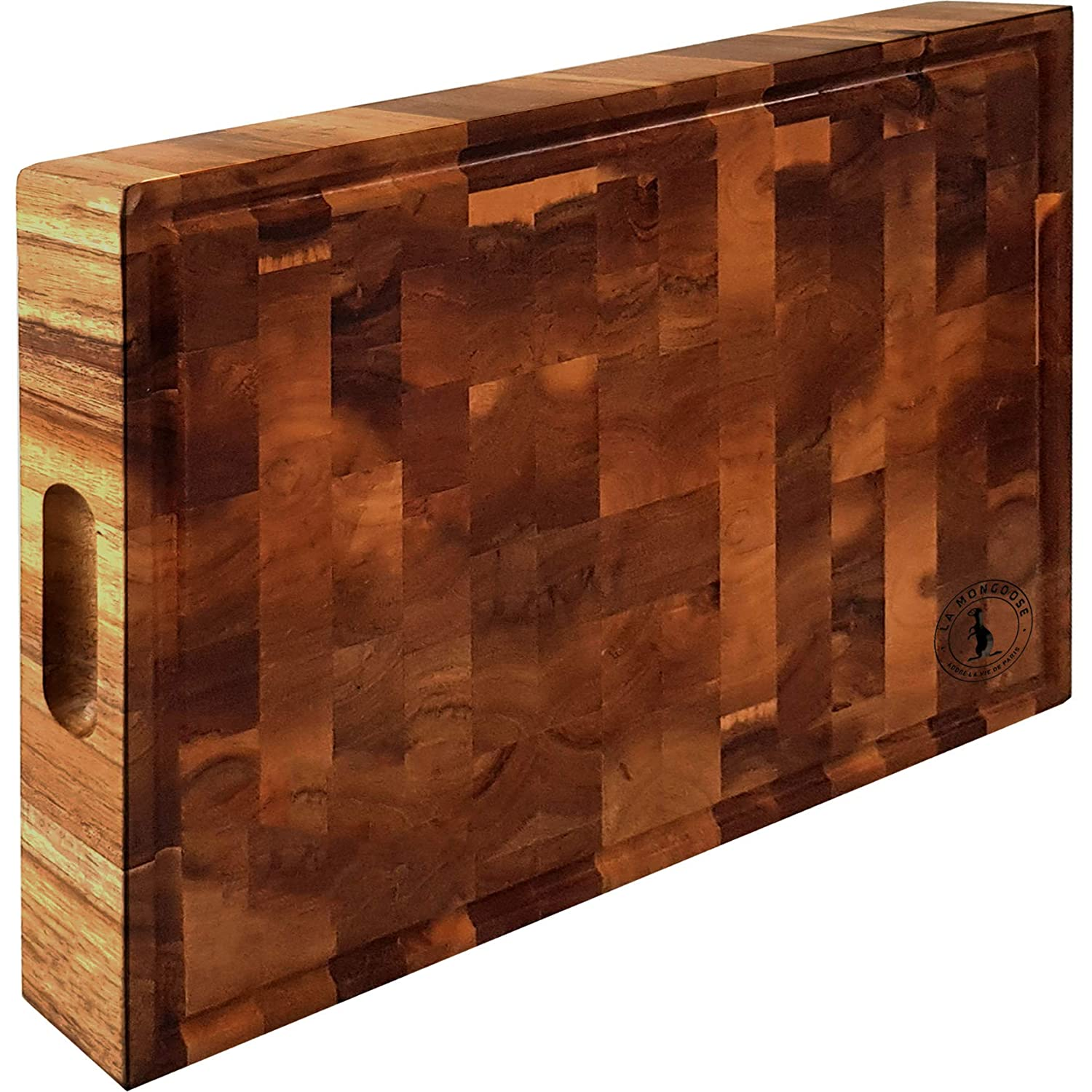Extra Large Thick Premium Acacia Wood Cutting Board 17 x 13 x 2 inch Juice Groove Hand Grips Reversible Solid Sturdy End Grain Butchers Block Chopping Serving Tray Platter Perfect Gift