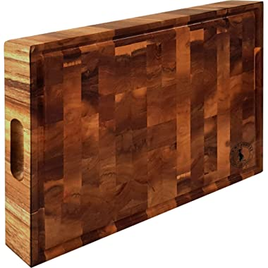 Extra Large Thick Acacia Wood Cutting Board 17 x 13 x 2 inches by La Mongoose. Juice Groove and Hand Grips Reversible Anti Microbial Solid Sturdy End Grain Butchers Block Chopping Serving Tray Platter