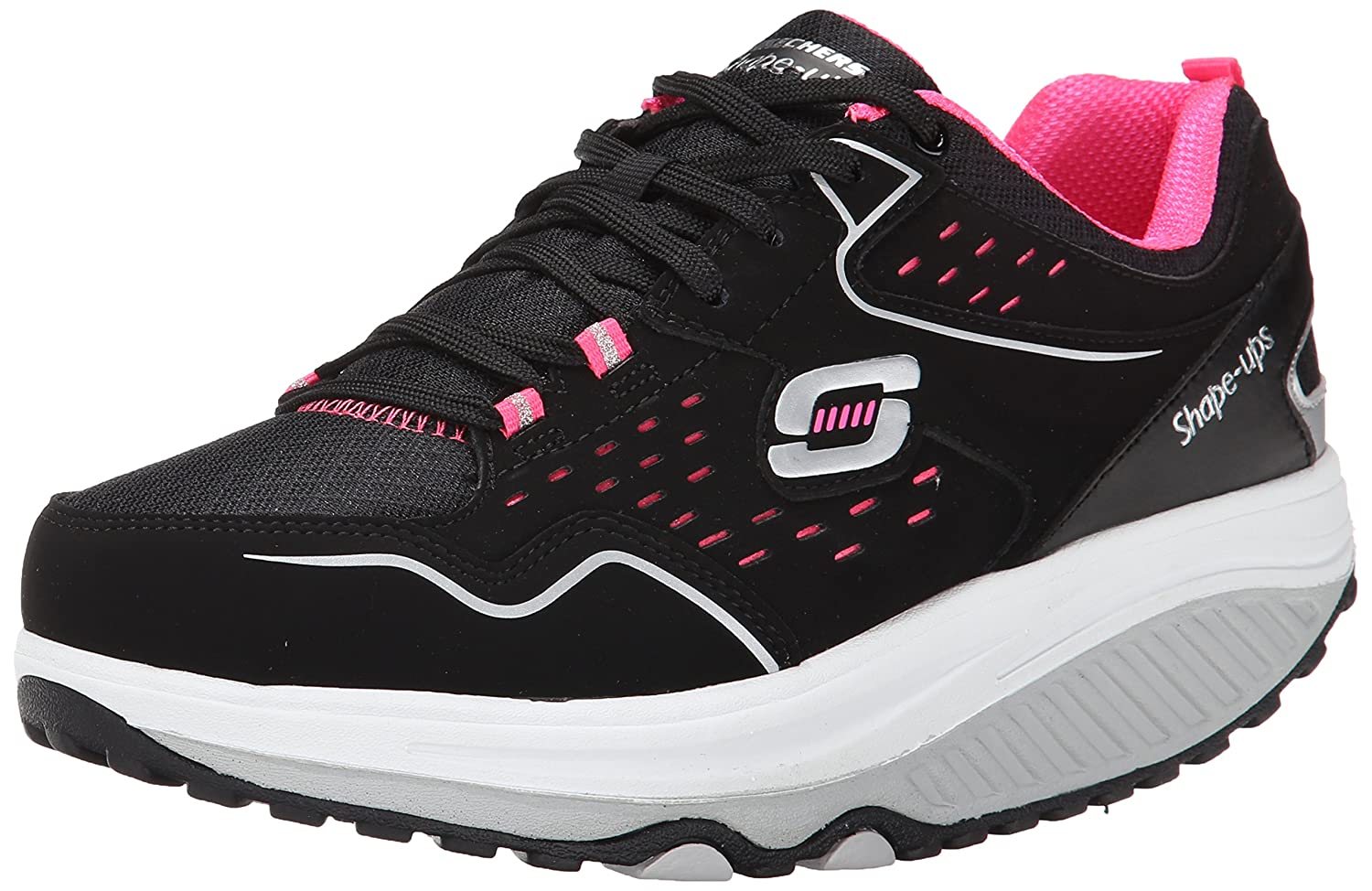 Skechers Women's Shape Ups 2.0 Perfect Comfort Fashion Sneaker B00R1OBQQ0 7 B(M) US|Black/Hot Pink