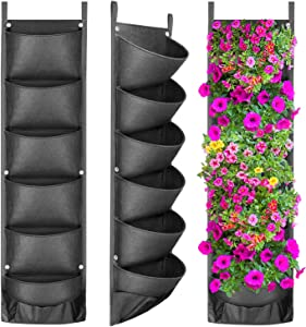 ANGTUO Vertical Hanging Garden Planter with 6 Pockets, New Layout Waterproof Wall Hanging Flowerpot Bag Perfect Solution for Garden Home Decoration (2020)