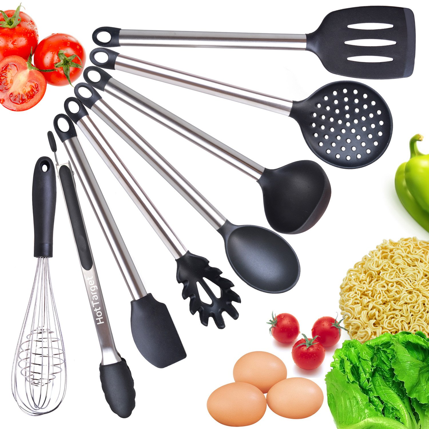 Amazon.com: Cooking Utensil Set- 8 Best Kitchen Utensils- Silicone ...