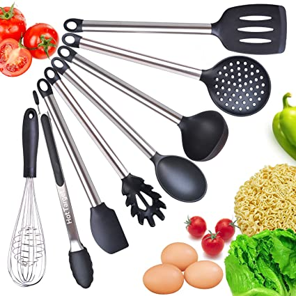 kitchen utensils images. Cooking Utensil Set- 8 Best Kitchen Utensils- Silicone \u0026 Stainless Steel Kit - Serving Utensils Images