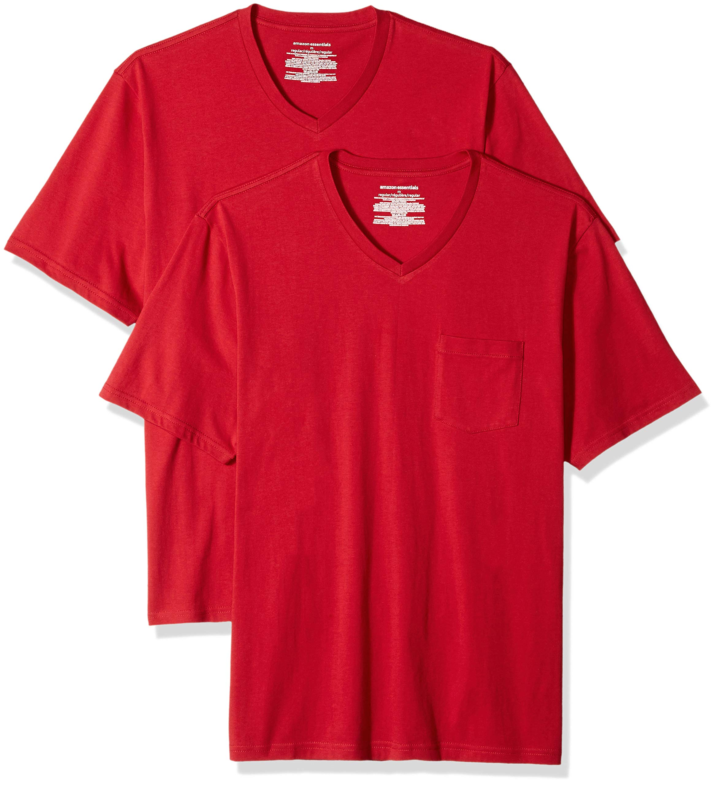 Amazon Essentials Men's 2-Pack Loose-fit V-Neck Pocket T-Shirt, red, X-Large by Amazon Essentials