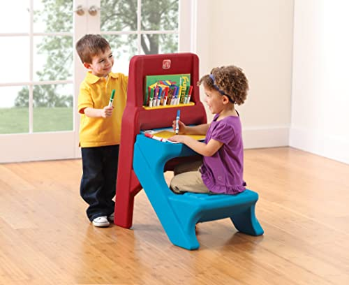 Step2 Art Easel Kids Desk - An easel and desk in one for kids age 2-6 to either sit or stand. The desk/easel is sturdy ans has storage room underneath the desktop