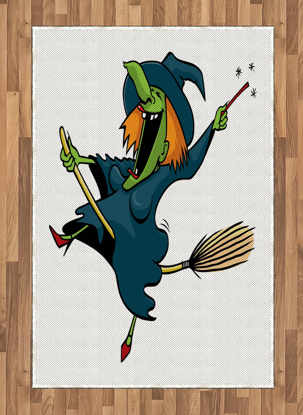 Amazon.com: Lunarable Witch Area Rug, Crazy Laughing Woman ...