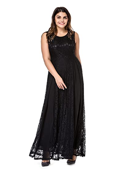 Esprlia Womens Plus Size Lace Sleeveless Evening Party Formal Maxi
