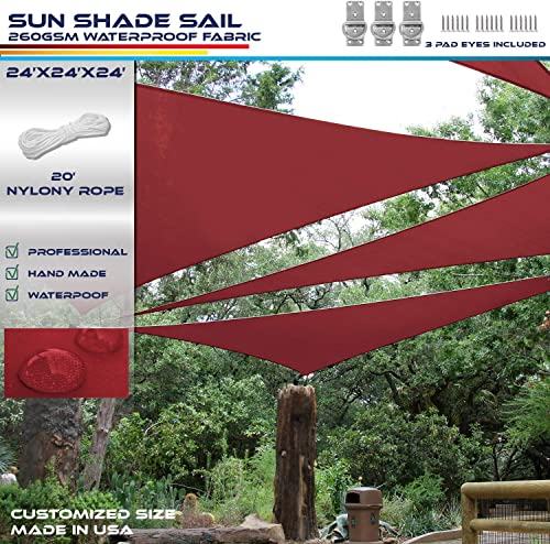 Windscreen4less Terylene Waterproof Sun Shade Sail UV Blocker Triangle Sunshade Patio Canopy Sail 24' x 24' x 24'
