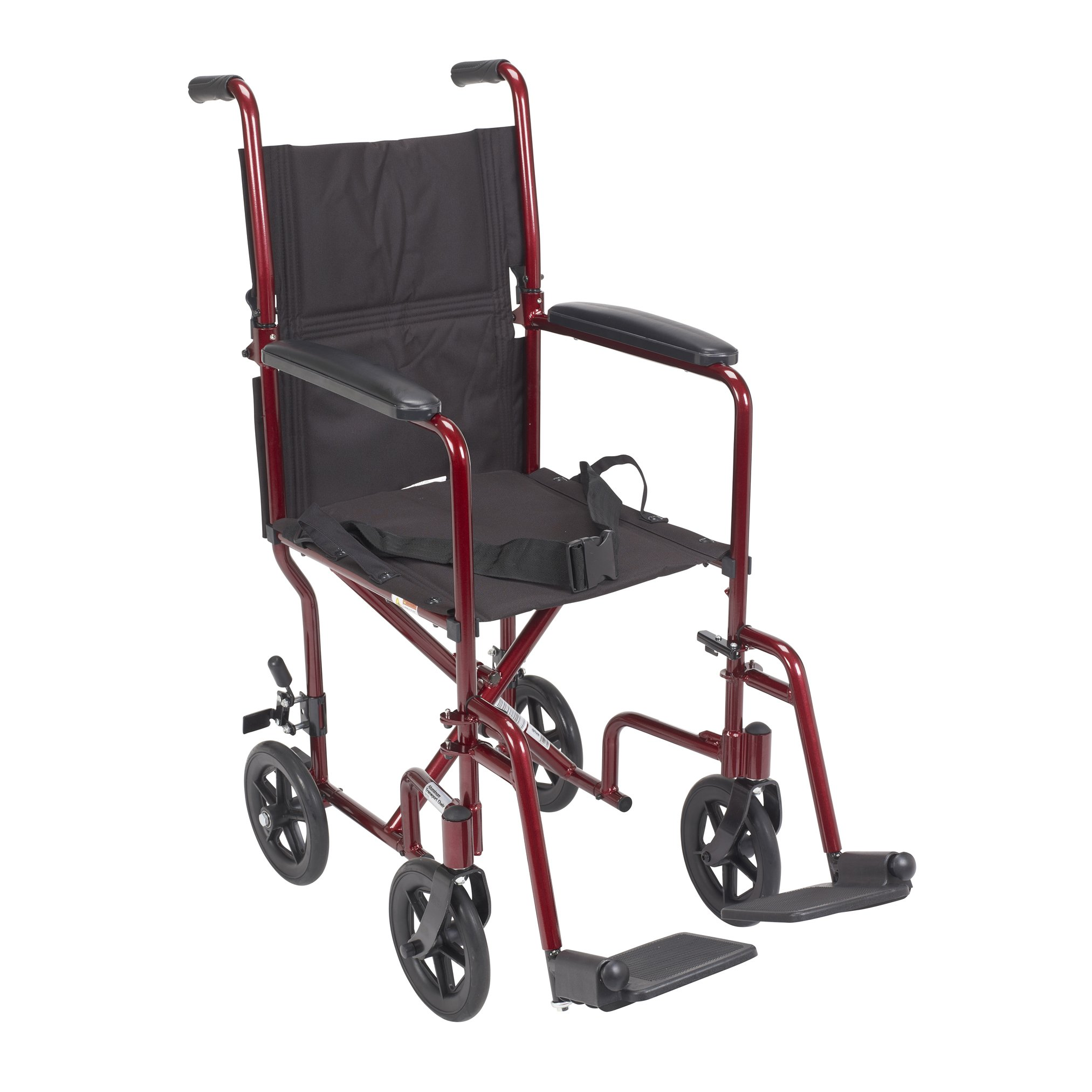 Drive Medical Deluxe Lightweight Aluminum Transport Wheelchair, Red, 17''