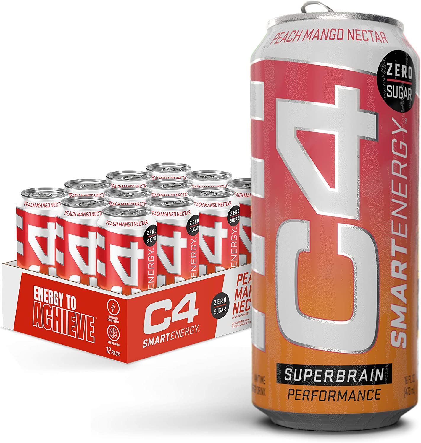 Cellucor C4 Smart Energy Sugar Free Sparkling Energy Drink Peach Mango Nectar   Performance Fuel & Nootropic Brain Booster Supplement with No Artificial Colors or Dyes   16oz (Pack of 12)