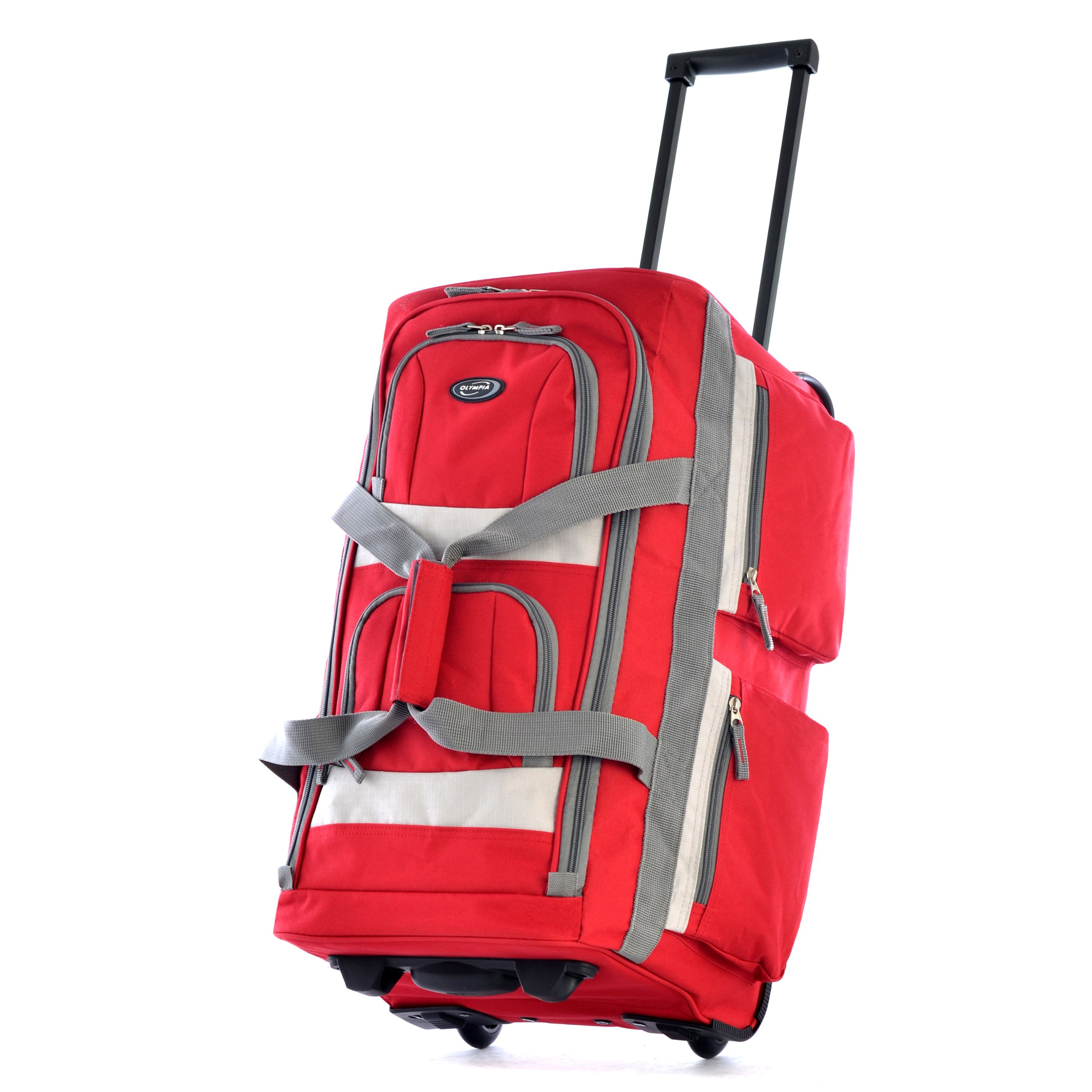 Olympia 26'' 8 Pocket Rolling Duffel Bag, Red, One Size