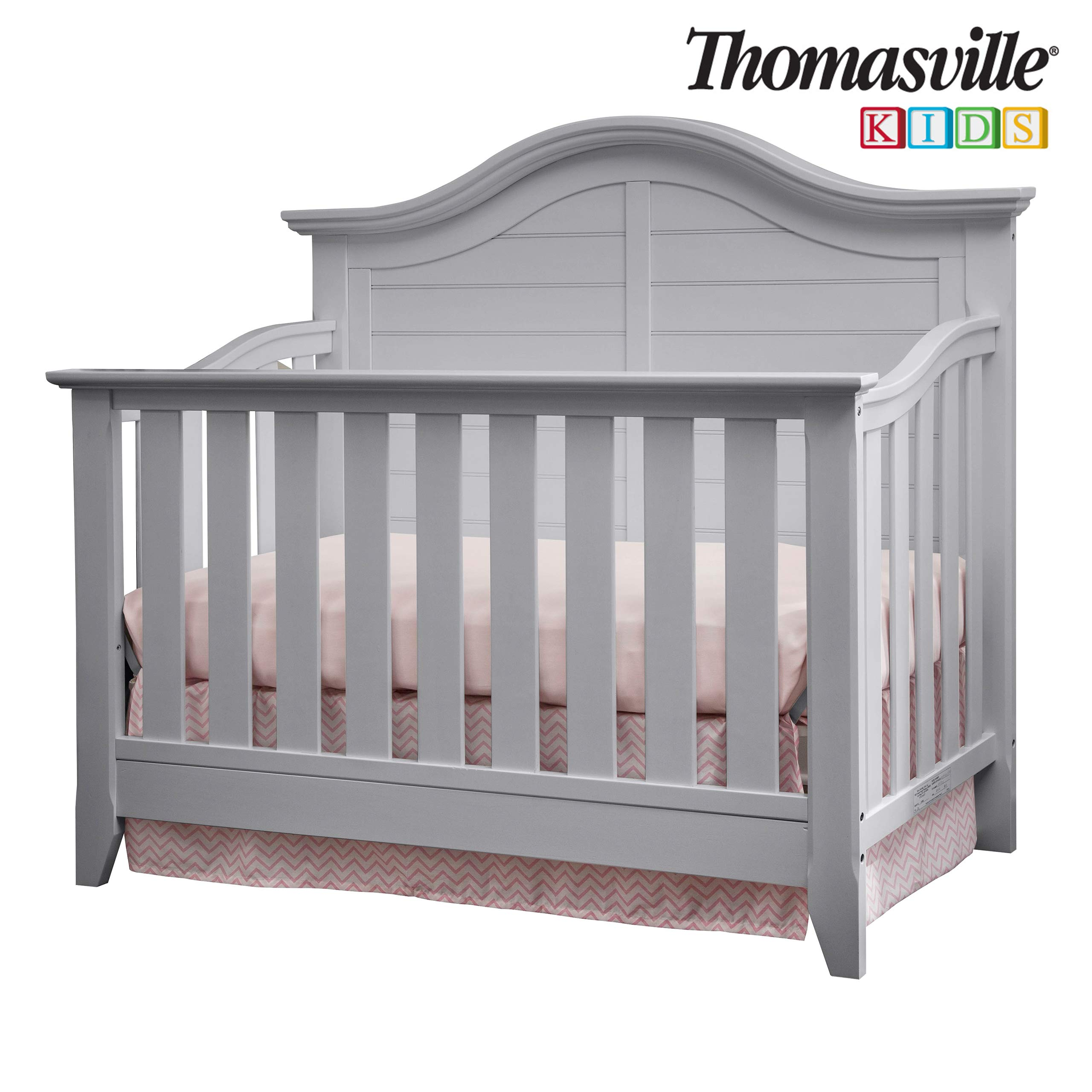 Thomasville Kids Southern Dunes Lifestyle 4-in-1 Convertible Crib, Pebble Gray, Easily Converts to Toddler Bed Day Bed or Full Bed, Three Position Adjustable Height Mattress (Mattress Not Included) by Storkcraft