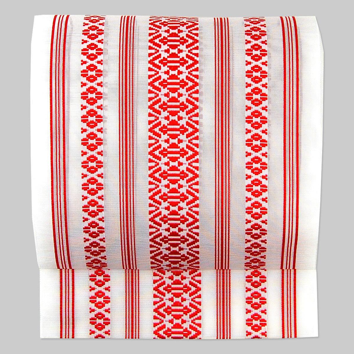 夏帯18色(紗献上袋名古屋帯)締め心地爽やか かがり仕立付 B002SIYTHC かがり仕立|14:白地に赤 14:白地に赤 かがり仕立