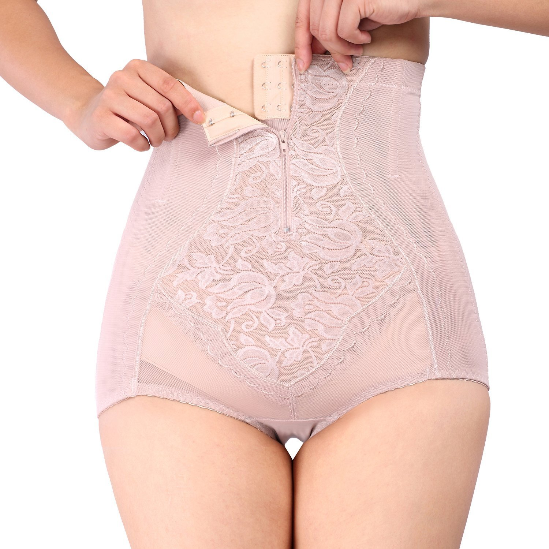 Leright Women's Hi-Waist Panty Zipper Closure Wasit Tummy Simmer Panties