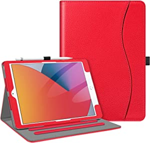 Fintie Case for New iPad 8th Gen (2020) / 7th Generation (2019) 10.2 Inch - [Corner Protection] Multi-Angle Viewing Folio Stand Cover with Pocket, Pencil Holder, Auto Wake/Sleep, Red