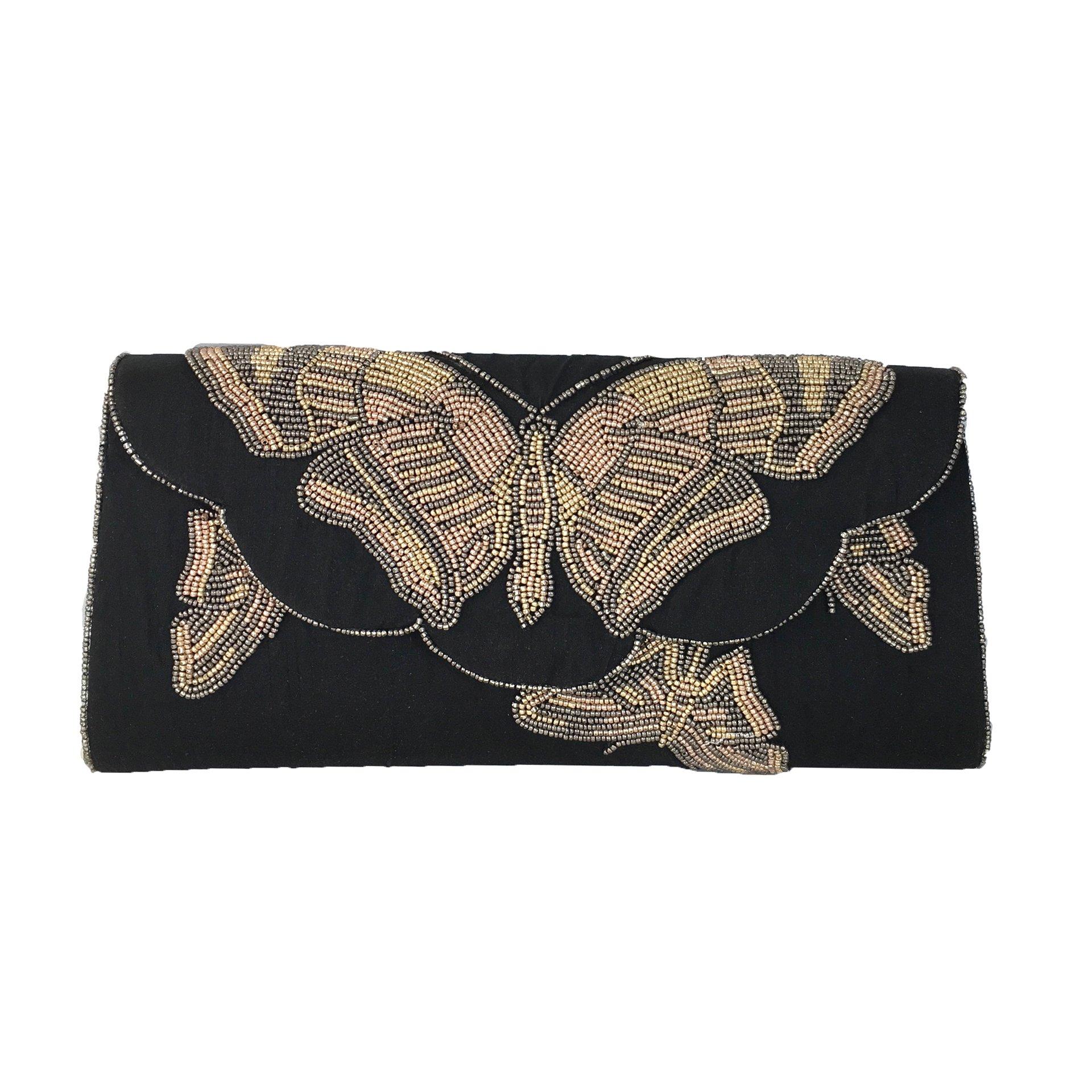 From St Xavier Beth Butterfly Beaded Clutch, Black Multi