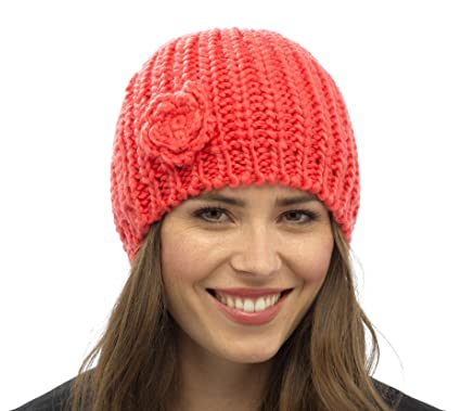 ca6a2fb765f RJM Tom Franks Ladies Knitted Beanie Hat with Knitted Flower Orange   Amazon.co.uk  Clothing