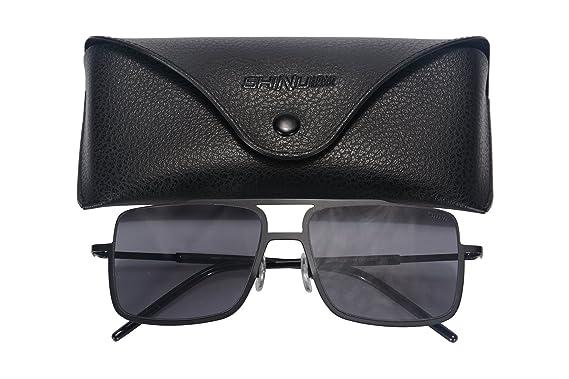 SHINU Metall Sonnenbrillen Square Frame Sonnenbrillen UV400 Schutz Brillen für Männer Flat Top Sonnenbrillen-72004 i4dmS