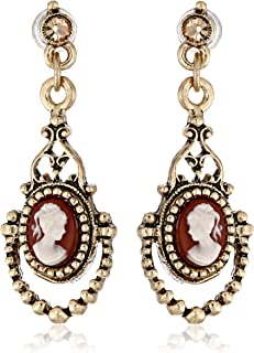product image for 1928 Jewelry Brass Faux Cameo Earrings