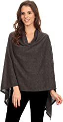 907ee09605c SHARON'S OUTLET Women's Solid Knit Short Wrap Poncho Topper Made in USA