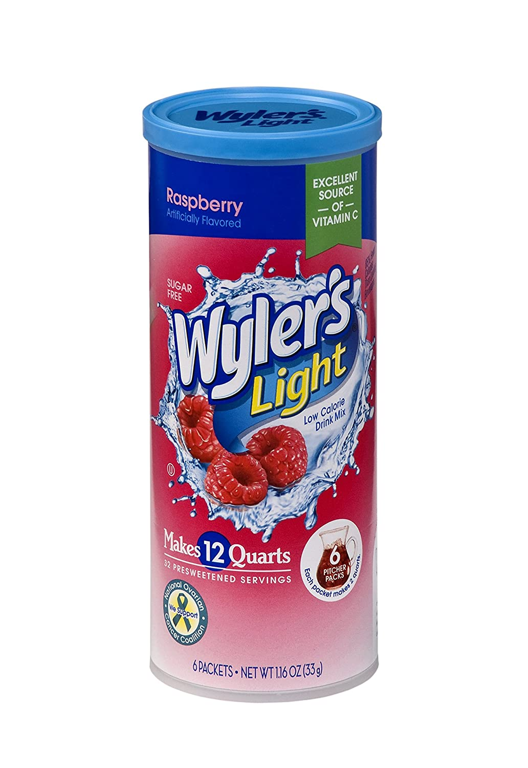 Wyler's Light Canister Drink Mix - Raspberry Water Powder Enhancer Canister (6 Canisters that make 12 Quarts Each)