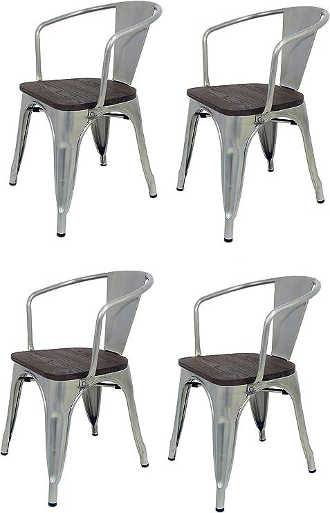 La Silla Española - Pack 4 Sillas estilo Tolix con respaldo, reposabrazos y asiento acabado en madera. Color Industrial. Medidas 73x53,5x52: Amazon.es: Hogar