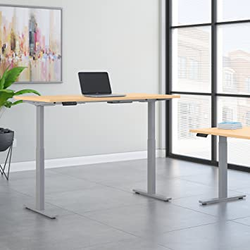 cool gray office furniture. bush business furniture move 60 series 72w x 30d height adjustable standing desk in natural maple