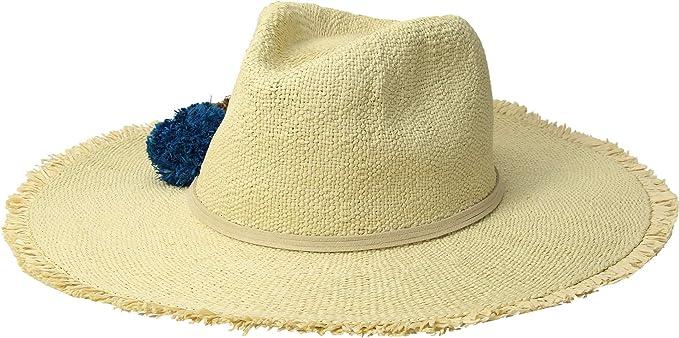 3c8c8dd4e Hat Attack Women's Beach Hat with Raffia Poms Trim Natural/Ocean One ...