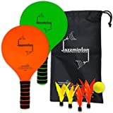 Jazzminton Paddle Ball Game With Carry Bag - Indoor Or Outdoor Beach, Lawn or Backyard Racquet Game