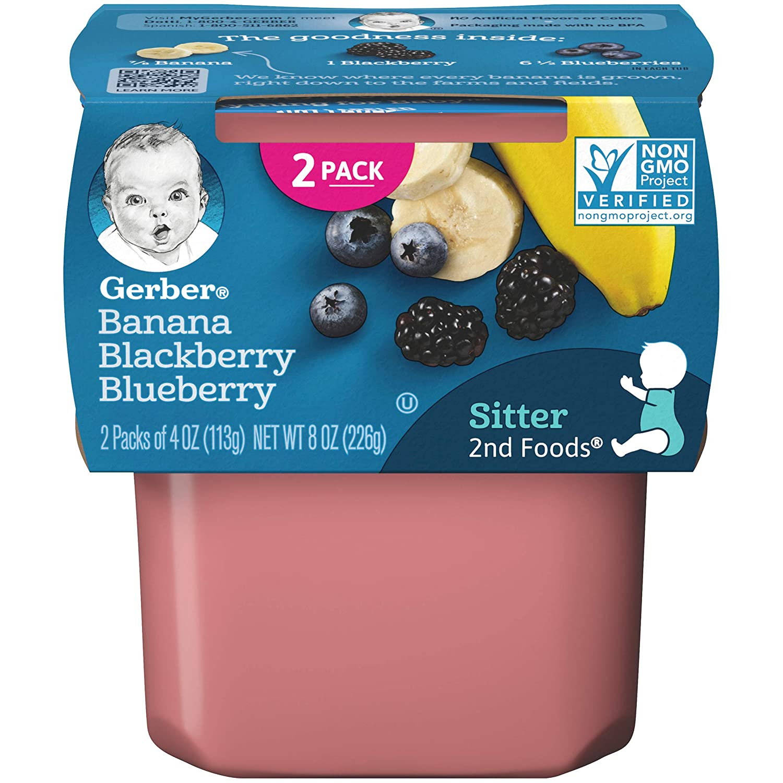Gerber Purees, 2nd Foods Banana Blackberry Blueberry, 4 oz