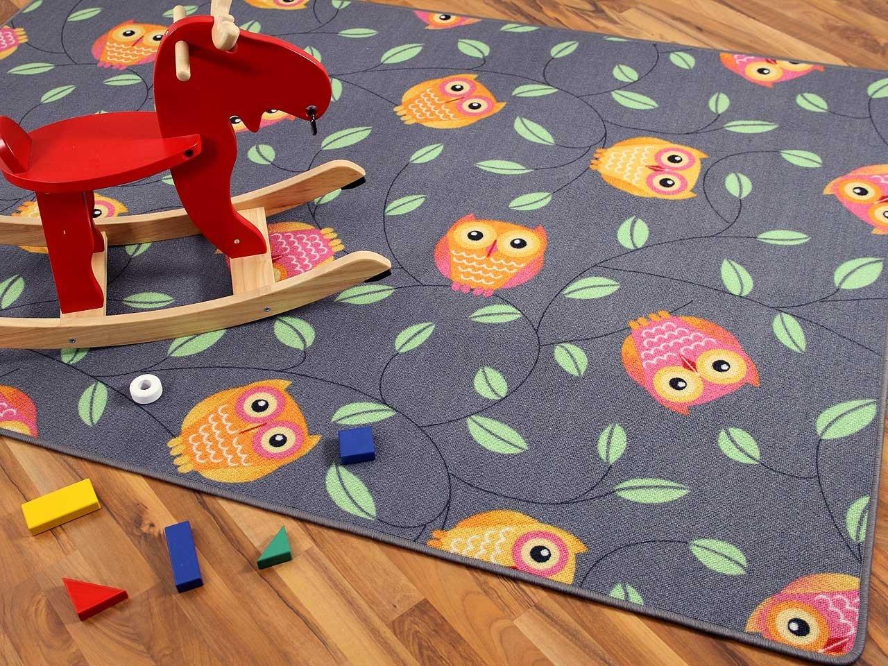 Kinder Spielteppich Eule Grau Anthrazit Orange in 24 Größen