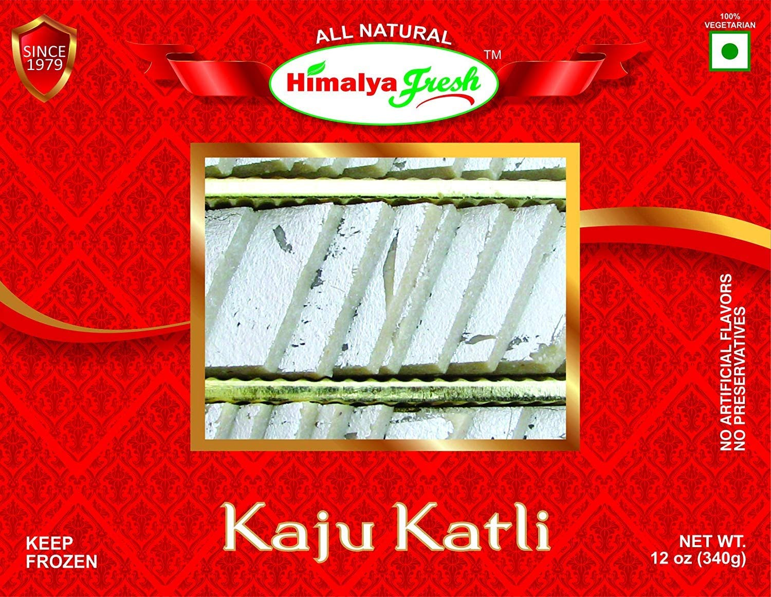 HIMALYA FRESH Kaju Katli 12oz - Premium Authentic Indian Food & Sweets Made With Cashew Nuts. Just two ingredients Cashew Nuts and sugar - No Fillers Or Preservatives (2 Boxes)