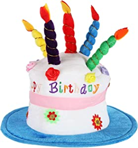 Home-X - Plush Happy Birthday Cake Hat, Celebrate in Style with The Perfect Birthday Hat for Men and Women of All Ages, Blue