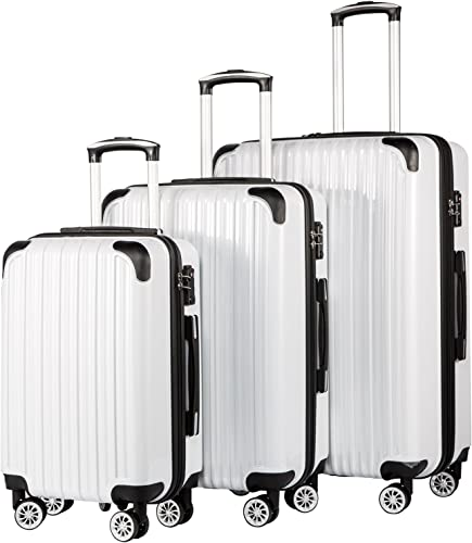 Coolife Luggage Expandable 3 Piece Sets PC ABS Spinner Suitcase 20 inch 24 inch 28 inch white grid