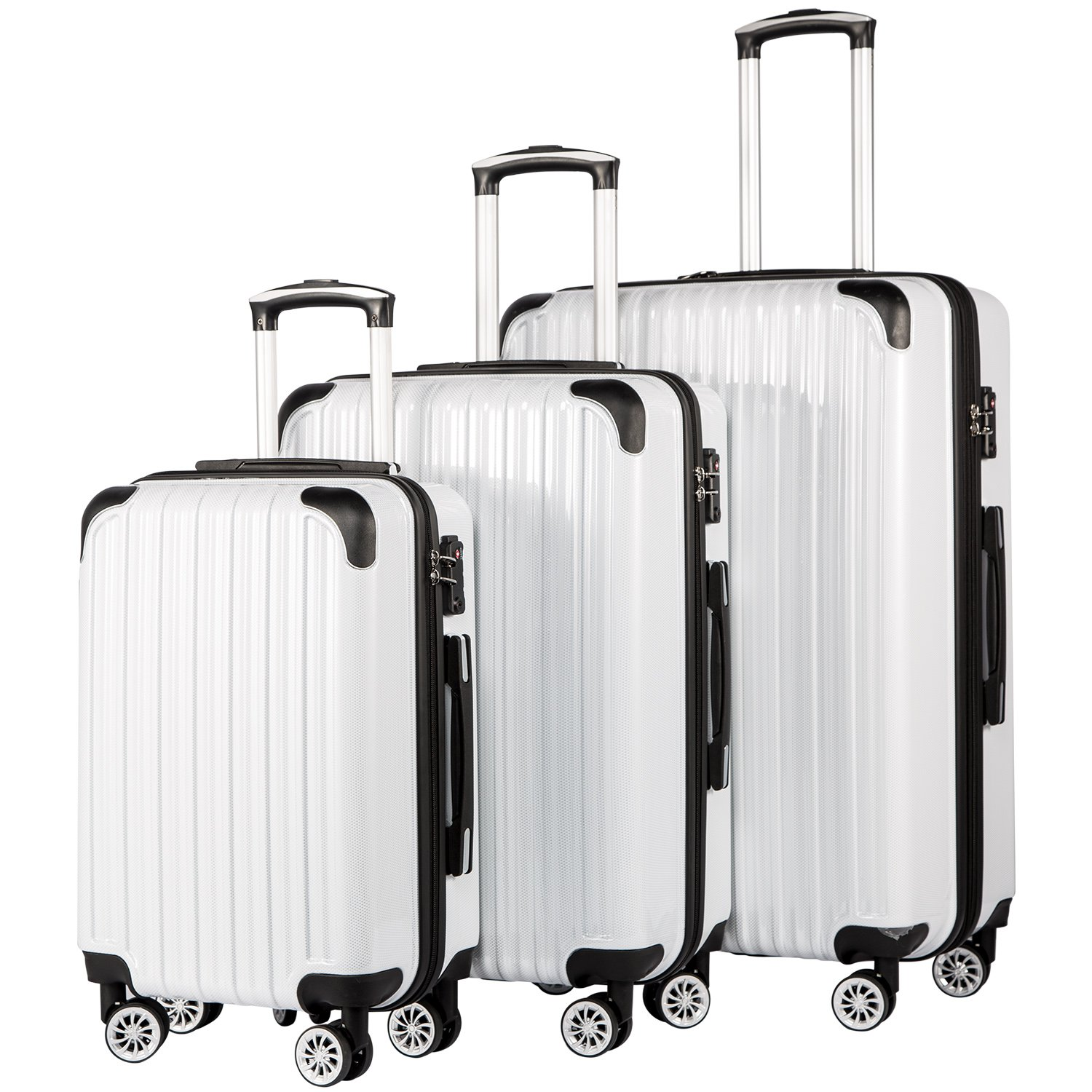Coolife Luggage Expandable 3 Piece Sets PC+ABS Spinner Suitcase 20 inch 24 inch 28 inch (white grid) by COOLIFE