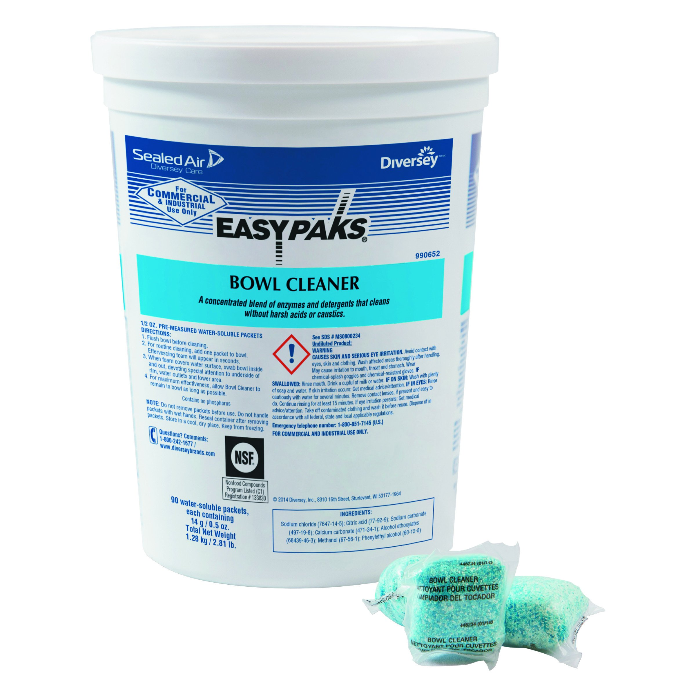 Easy Paks 990652CT Water Soluble Bowl Cleaner.5oz Packet, 90 Per Tub (Case of 2)