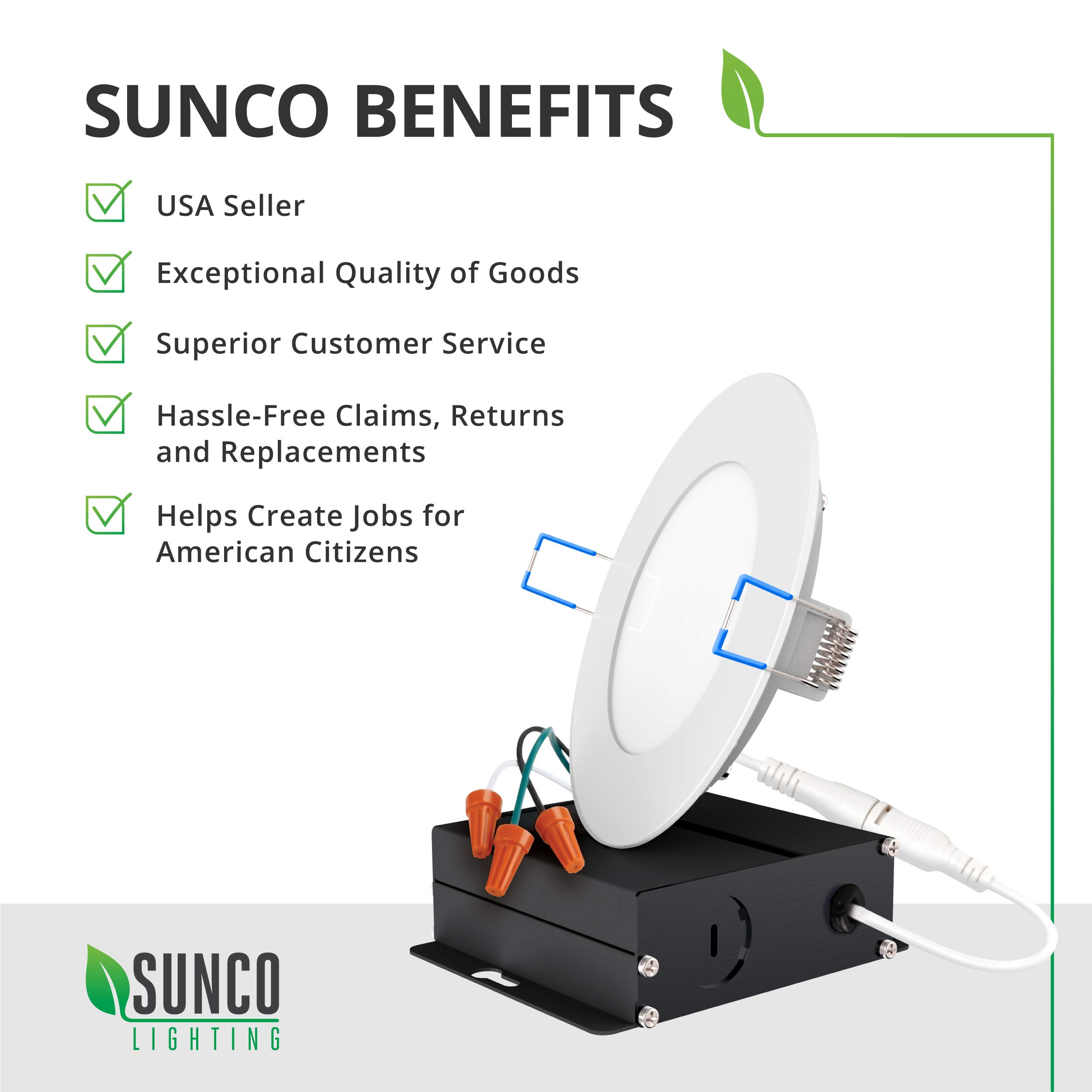 Sunco Lighting 16 Pack 4 Inch Slim LED Downlight with Junction Box,10W=60W, 650 LM, Dimmable, 5000K Daylight, Recessed Jbox Fixture, IC Rated, Simple Retrofit Installation - ETL & Energy Star by Sunco Lighting (Image #9)