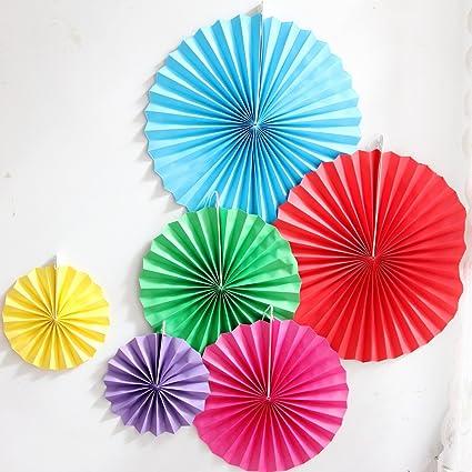Amazon Com Lg Free 12pcs Colorful Party Fan Tissue Paper Fan Round