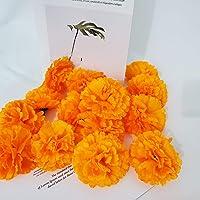 TRvancat Marigold Flower Heads Bulk 15Pcs, Silk Artificial Flowers for DIY Wedding Party Deor 10cm(Orange)