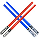 megasumer Pack of 4 Inflatable Light Saber Sword Toys - 2 Red and 2 Blue Lightsabers - Pool, Beach, Party Favors, LARP. Great