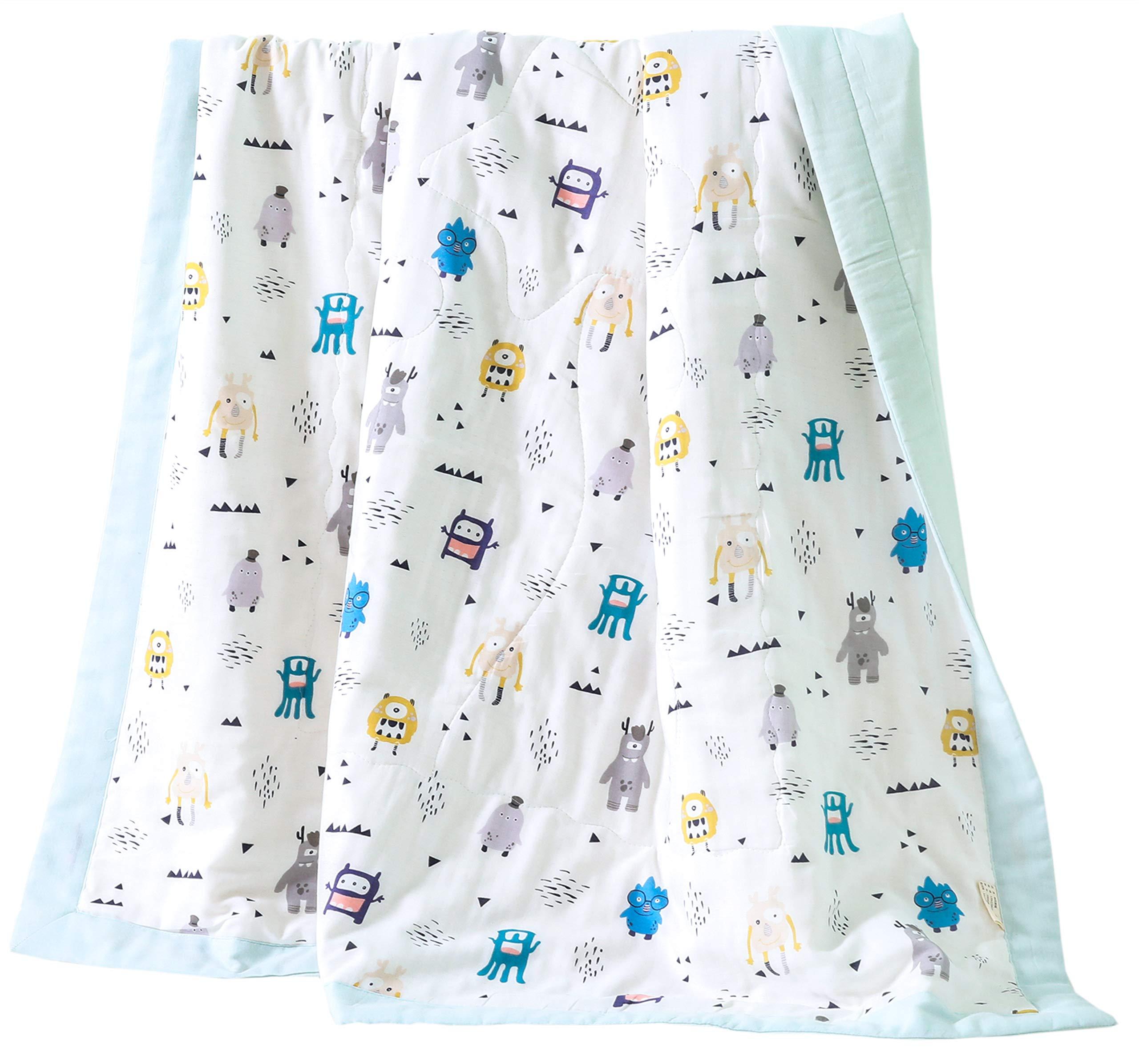 J-pinno Boys & Girls Cute Alien Robot Muslin Quilt Comforter Bedding Coverlet, 100% Long Staple Cotton, Throw Blanket Twin for Kid's Bedroom Decoration Gift (Twin 59'' X 78'', Robot)