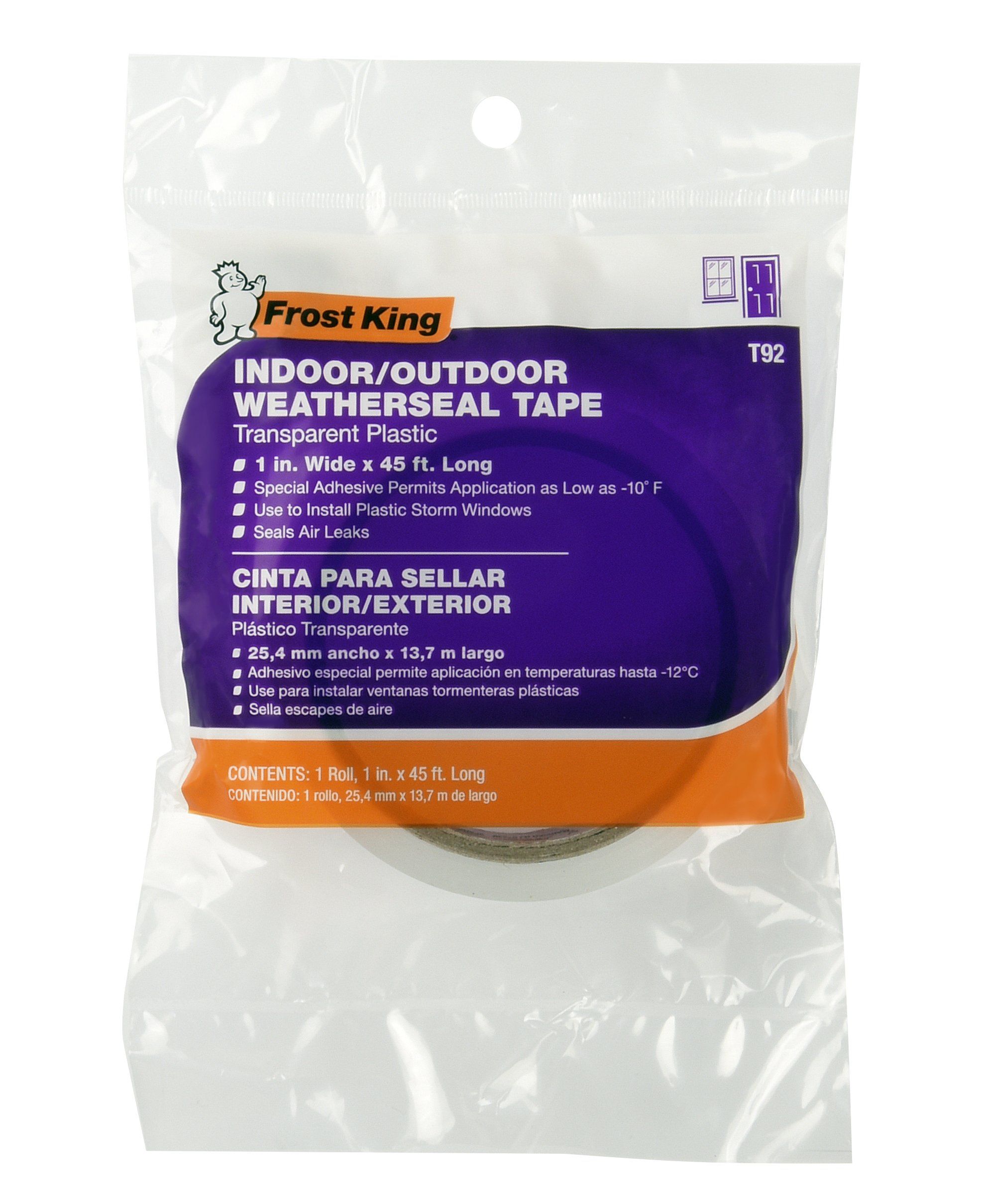 Frost King T92H 1'' x 45' Long Indoor/Outdoor Clear Plastic Weatherseal Tape, Clear by Frost King (Image #2)
