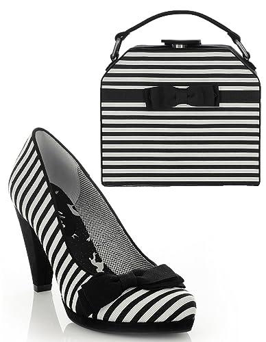 4c5fe9ef2 Ruby Shoo Women's Black Stripe Susanna Court Shoe Pumps and Matching Tampa  Bag UK 3 EU